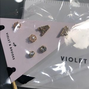 "Violet and Brooks Jewelry - ""A"" Violet and Brooks Personalized Earrings Set"